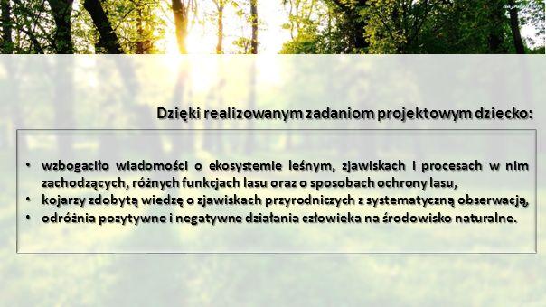 Dzięki realizowanym zadaniom projektowym dziecko: wzbogaciło wiadomości o ekosystemie leśnym, zjawiskach i procesach w nim zachodzących, różnych funkcjach lasu oraz o sposobach ochrony lasu, wzbogaciło wiadomości o ekosystemie leśnym, zjawiskach i procesach w nim zachodzących, różnych funkcjach lasu oraz o sposobach ochrony lasu, kojarzy zdobytą wiedzę o zjawiskach przyrodniczych z systematyczną obserwacją, kojarzy zdobytą wiedzę o zjawiskach przyrodniczych z systematyczną obserwacją, odróżnia pozytywne i negatywne działania człowieka na środowisko naturalne.