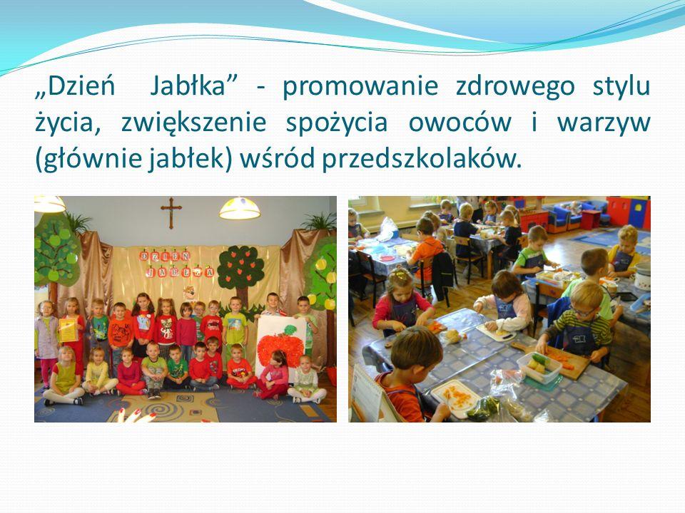 """""""Dzień Jabłka - promowanie zdrowego stylu życia, zwiększenie spożycia owoców i warzyw (głównie jabłek) wśród przedszkolaków."""