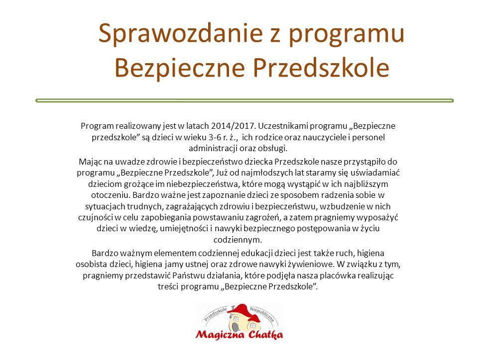 Sprawozdanie z programu Bezpieczne Przedszkole Program realizowany jest w latach 2014/2017.