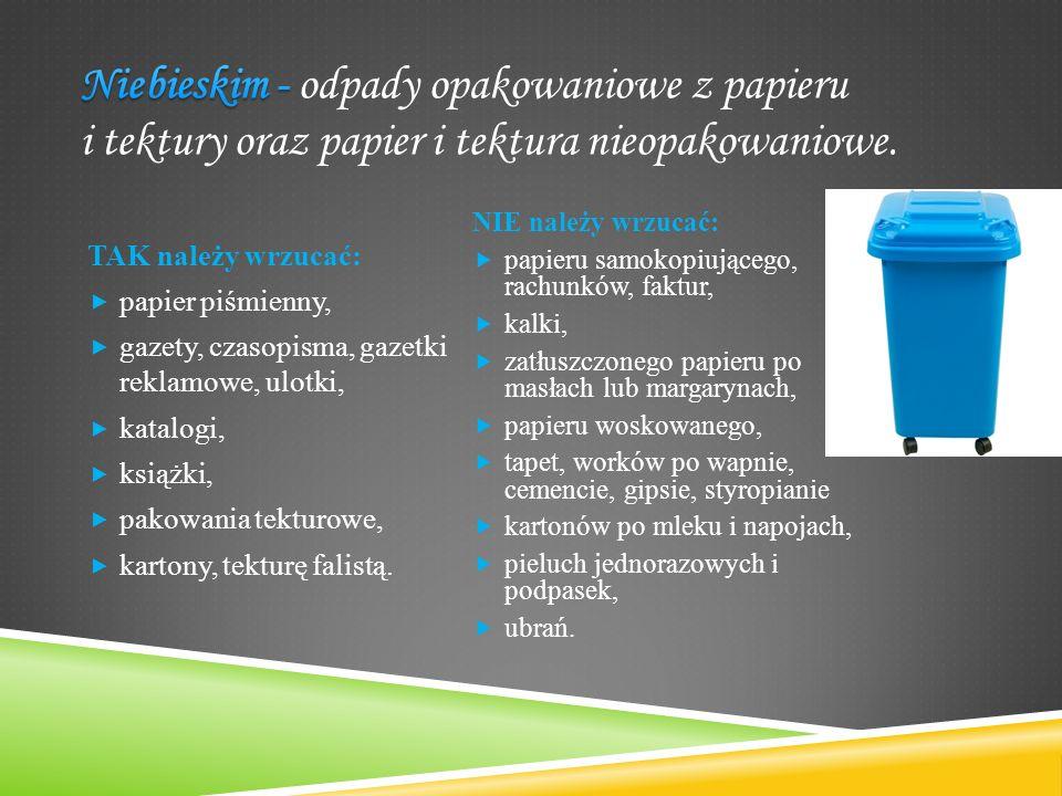 TAK należy wrzucać:  papier piśmienny,  gazety, czasopisma, gazetki reklamowe, ulotki,  katalogi,  książki,  pakowania tekturowe,  kartony, tekt
