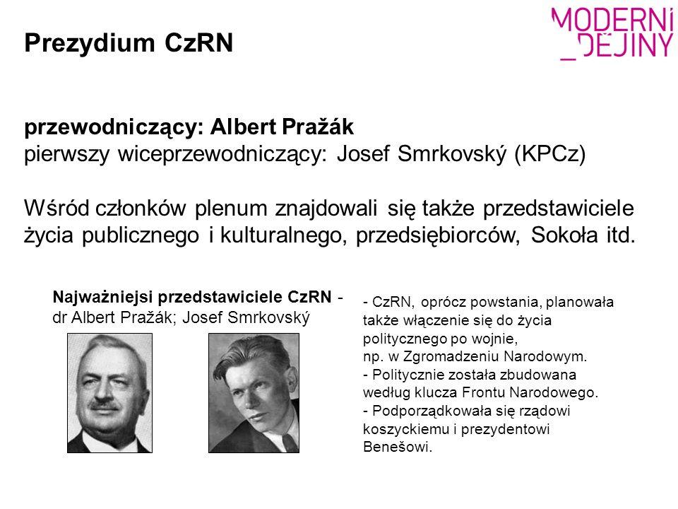 Prezydium CzRN przewodniczący: Albert Pražák pierwszy wiceprzewodniczący: Josef Smrkovský (KPCz) Wśród członków plenum znajdowali się także przedstawiciele życia publicznego i kulturalnego, przedsiębiorców, Sokoła itd.