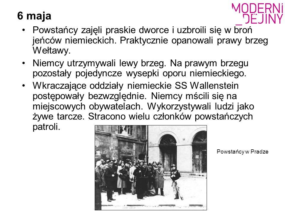 6 maja Powstańcy zajęli praskie dworce i uzbroili się w broń jeńców niemieckich. Praktycznie opanowali prawy brzeg Wełtawy. Niemcy utrzymywali lewy br