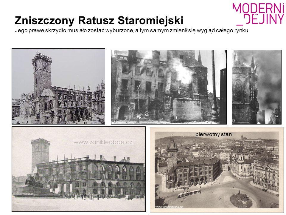 Zniszczony Ratusz Staromiejski Jego prawe skrzydło musiało zostać wyburzone, a tym samym zmienił się wygląd całego rynku pierwotny stan