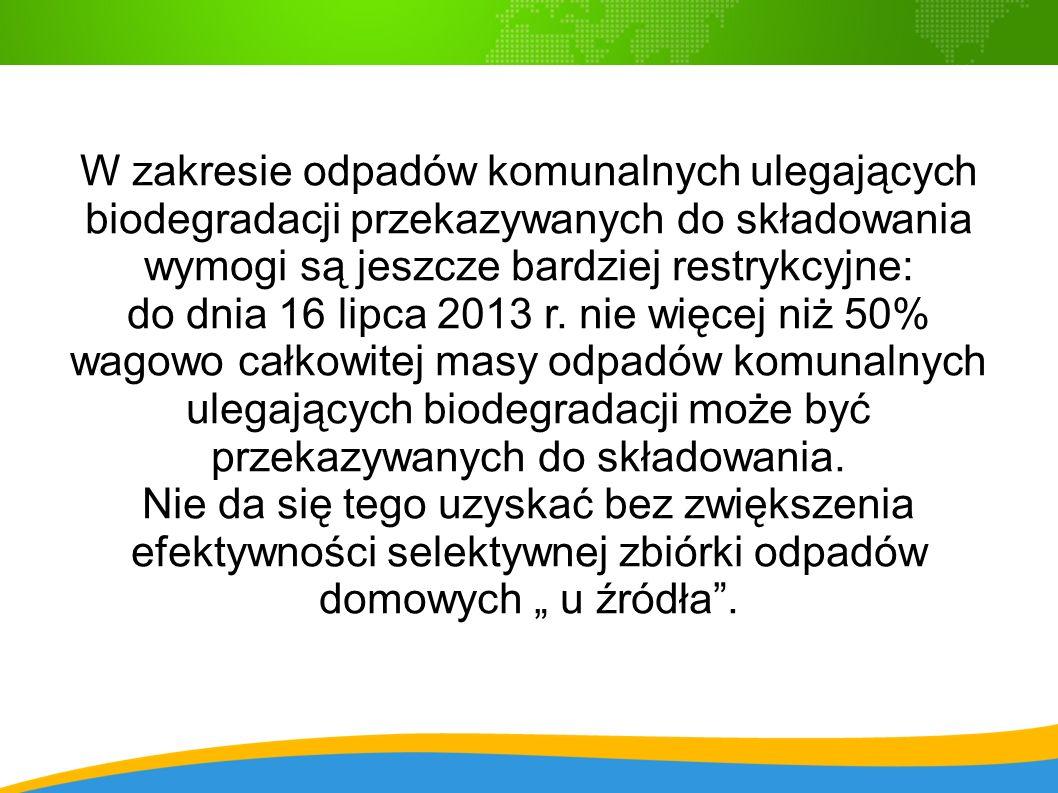 W zakresie odpadów komunalnych ulegających biodegradacji przekazywanych do składowania wymogi są jeszcze bardziej restrykcyjne: do dnia 16 lipca 2013 r.