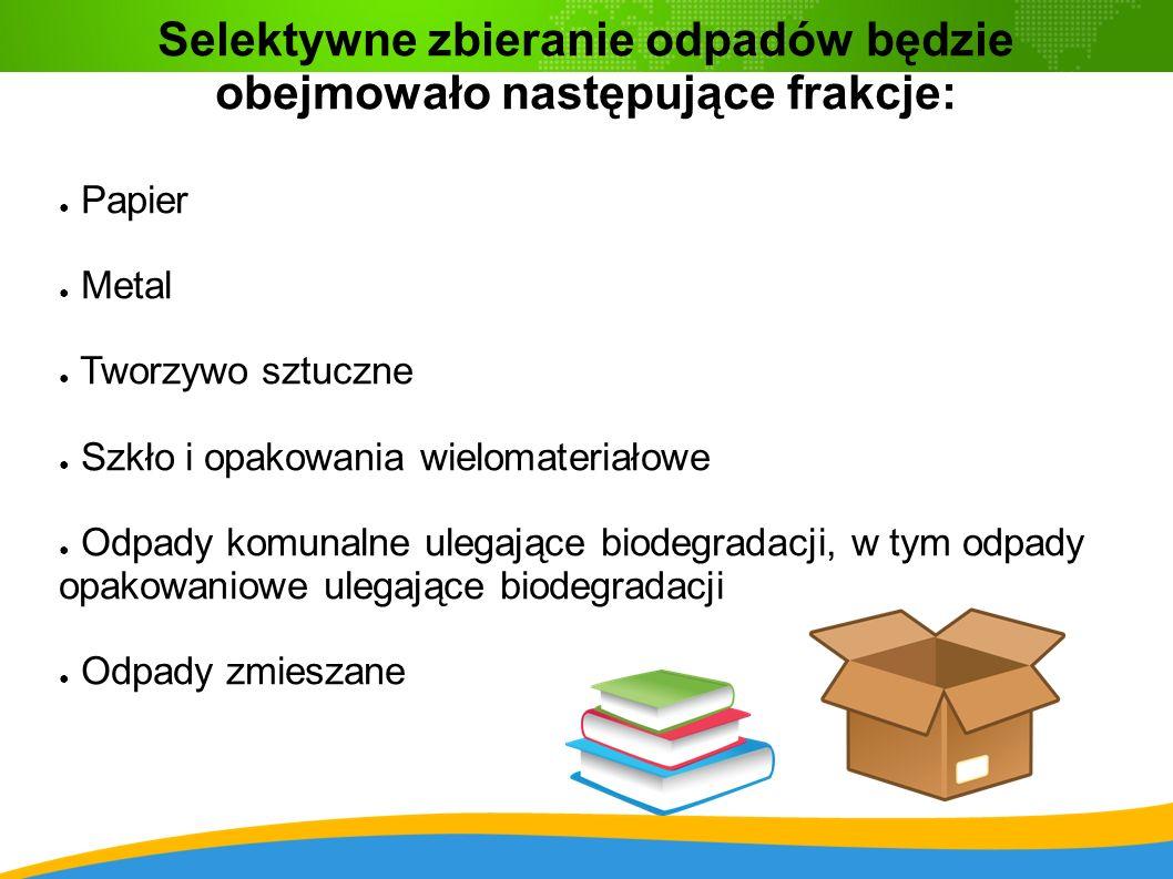 Selektywne zbieranie odpadów będzie obejmowało następujące frakcje: ● Papier ● Metal ● Tworzywo sztuczne ● Szkło i opakowania wielomateriałowe ● Odpady komunalne ulegające biodegradacji, w tym odpady opakowaniowe ulegające biodegradacji ● Odpady zmieszane