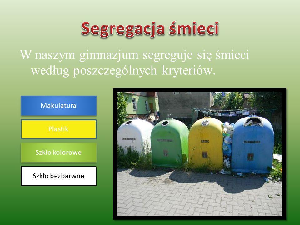 W naszym gimnazjum segreguje się śmieci według poszczególnych kryteriów.