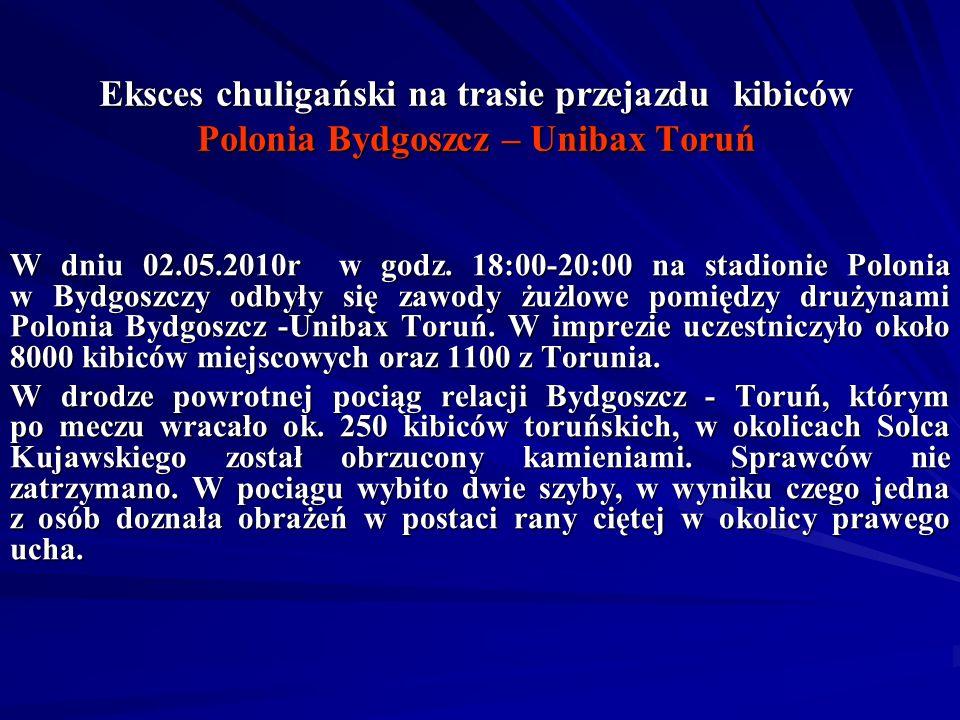 Eksces chuligański na trasie przejazdu kibiców Polonia Bydgoszcz – Unibax Toruń W dniu 02.05.2010r w godz. 18:00-20:00 na stadionie Polonia w Bydgoszc