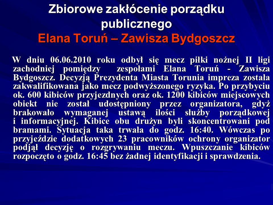 Zbiorowe zakłócenie porządku publicznego Elana Toruń – Zawisza Bydgoszcz W dniu 06.06.2010 roku odbył się mecz piłki nożnej II ligi zachodniej pomiędzy zespołami Elana Toruń - Zawisza Bydgoszcz.