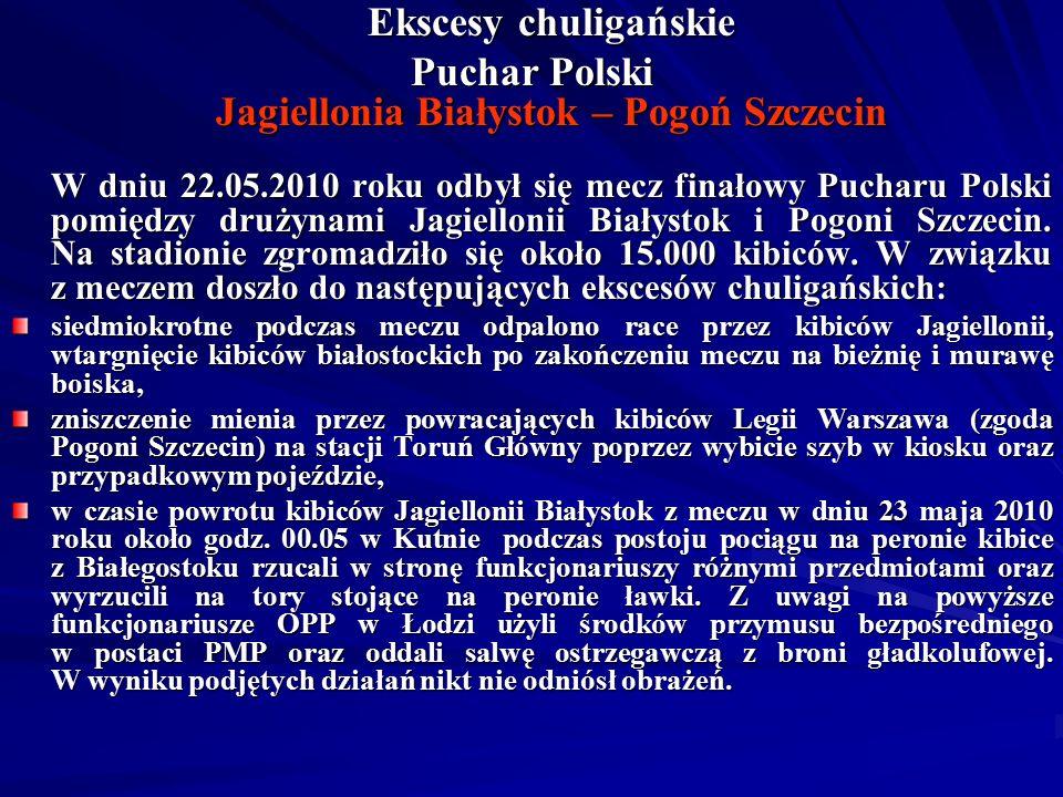 Ekscesy chuligańskie Puchar Polski Jagiellonia Białystok – Pogoń Szczecin W dniu 22.05.2010 roku odbył się mecz finałowy Pucharu Polski pomiędzy drużynami Jagiellonii Białystok i Pogoni Szczecin.