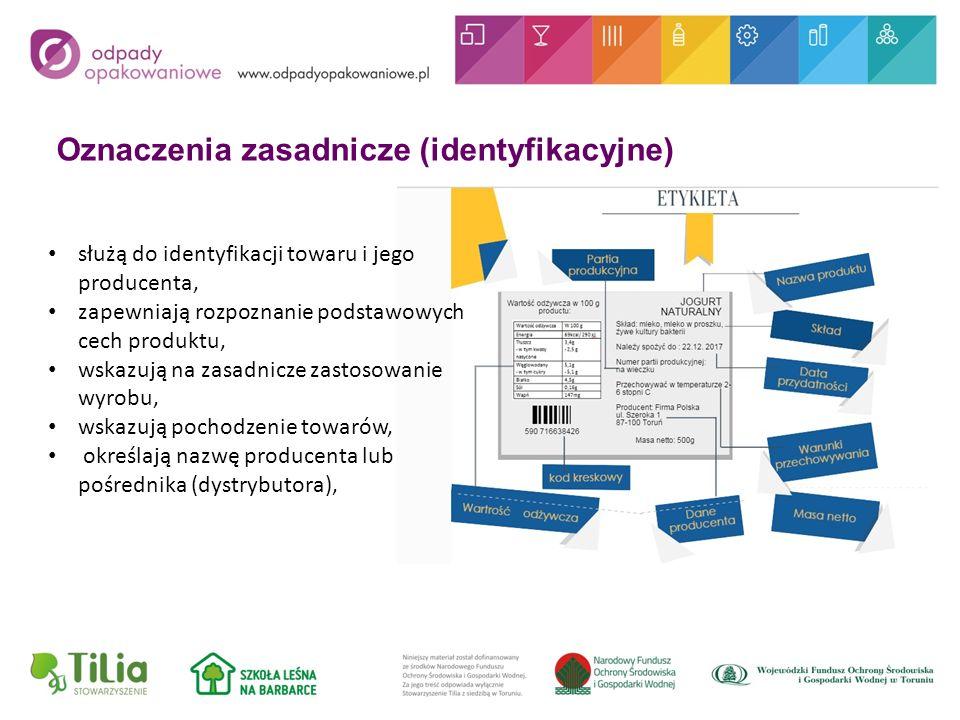 Oznaczenia zasadnicze (identyfikacyjne) służą do identyfikacji towaru i jego producenta, zapewniają rozpoznanie podstawowych cech produktu, wskazują na zasadnicze zastosowanie wyrobu, wskazują pochodzenie towarów, określają nazwę producenta lub pośrednika (dystrybutora),