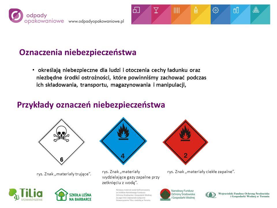 Oznaczenia niebezpieczeństwa określają niebezpieczne dla ludzi i otoczenia cechy ładunku oraz niezbędne środki ostrożności, które powinniśmy zachować podczas ich składowania, transportu, magazynowania i manipulacji, rys.