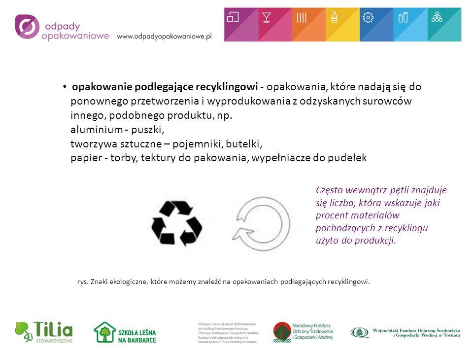 opakowanie podlegające recyklingowi - opakowania, które nadają się do ponownego przetworzenia i wyprodukowania z odzyskanych surowców innego, podobnego produktu, np.