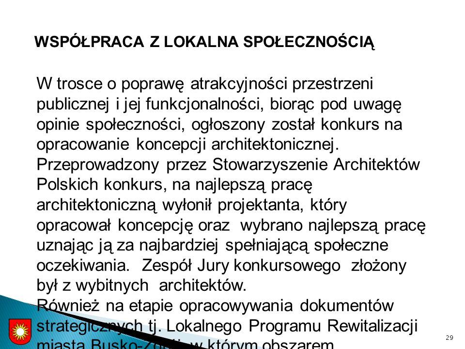 WSPÓŁPRACA Z LOKALNA SPOŁECZNOŚCIĄ 29 W trosce o poprawę atrakcyjności przestrzeni publicznej i jej funkcjonalności, biorąc pod uwagę opinie społeczności, ogłoszony został konkurs na opracowanie koncepcji architektonicznej.
