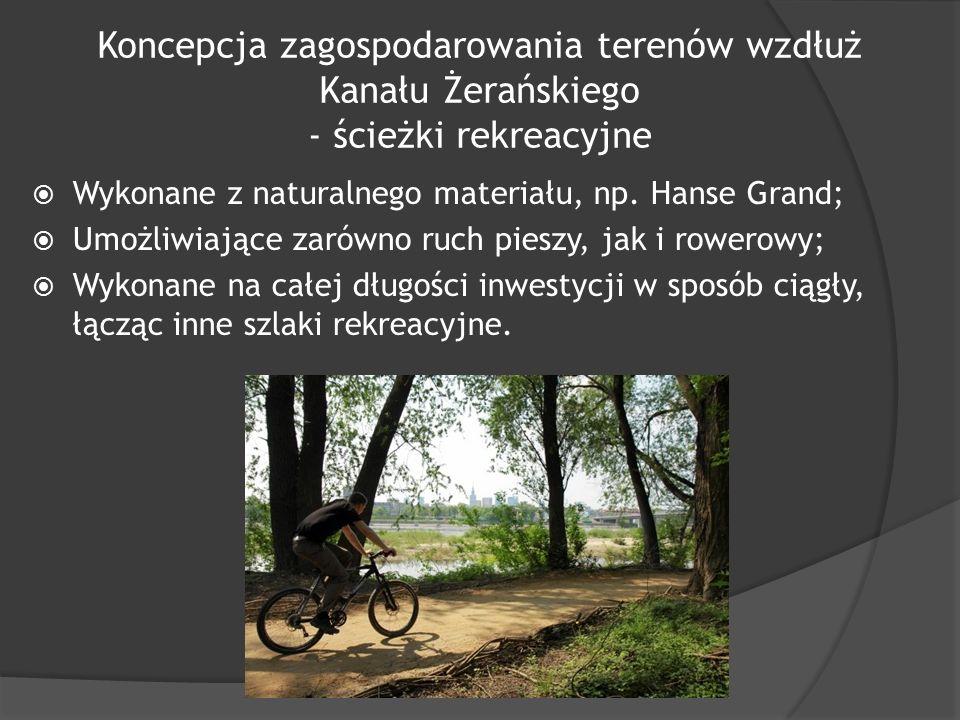 Koncepcja zagospodarowania terenów wzdłuż Kanału Żerańskiego - ścieżki rekreacyjne  Wykonane z naturalnego materiału, np.