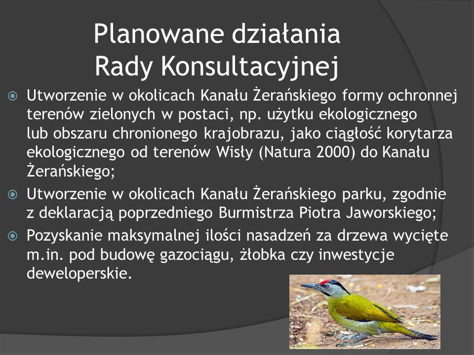 Planowane działania Rady Konsultacyjnej  Utworzenie w okolicach Kanału Żerańskiego formy ochronnej terenów zielonych w postaci, np.