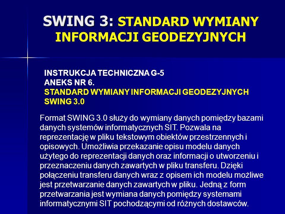 SWING 3: SWING 3: STANDARD WYMIANY INFORMACJI GEODEZYJNYCH INSTRUKCJA TECHNICZNA G-5 ANEKS NR 6.