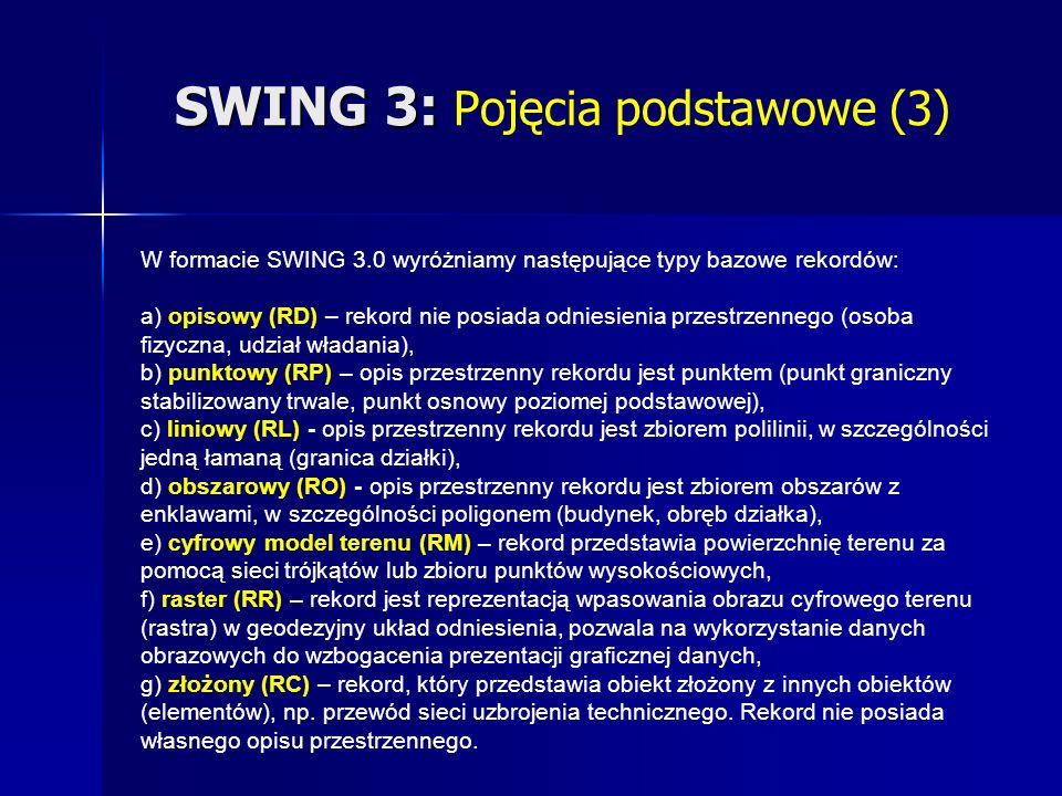 SWING 3: SWING 3: Pojęcia podstawowe (3) W formacie SWING 3.0 wyróżniamy następujące typy bazowe rekordów: a) opisowy (RD) – rekord nie posiada odniesienia przestrzennego (osoba fizyczna, udział władania), b) punktowy (RP) – opis przestrzenny rekordu jest punktem (punkt graniczny stabilizowany trwale, punkt osnowy poziomej podstawowej), c) liniowy (RL) - opis przestrzenny rekordu jest zbiorem polilinii, w szczególności jedną łamaną (granica działki), d) obszarowy (RO) - opis przestrzenny rekordu jest zbiorem obszarów z enklawami, w szczególności poligonem (budynek, obręb działka), e) cyfrowy model terenu (RM) – rekord przedstawia powierzchnię terenu za pomocą sieci trójkątów lub zbioru punktów wysokościowych, f) raster (RR) – rekord jest reprezentacją wpasowania obrazu cyfrowego terenu (rastra) w geodezyjny układ odniesienia, pozwala na wykorzystanie danych obrazowych do wzbogacenia prezentacji graficznej danych, g) złożony (RC) – rekord, który przedstawia obiekt złożony z innych obiektów (elementów), np.