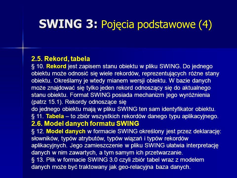 SWING 3: SWING 3: Pojęcia podstawowe (4) 2.5. Rekord, tabela § 10.