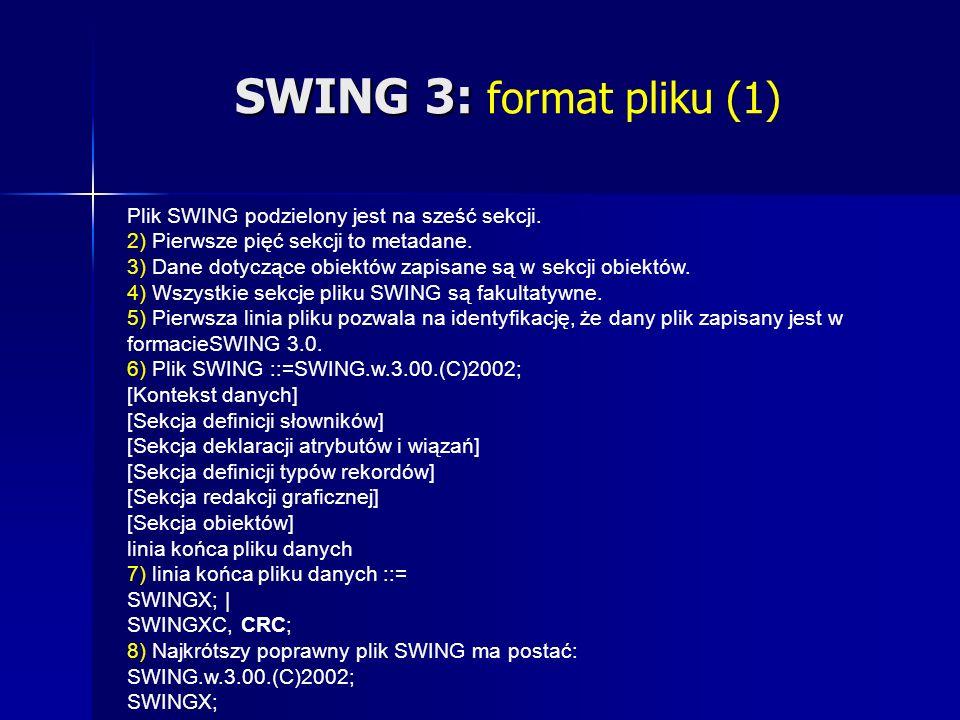 SWING 3: SWING 3: format pliku (1) Plik SWING podzielony jest na sześć sekcji.