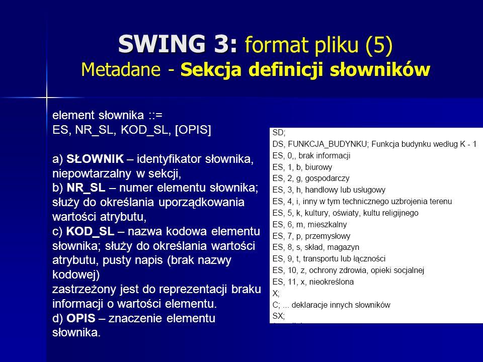 SWING 3: SWING 3: format pliku (5) Metadane - Sekcja definicji słowników element słownika ::= ES, NR_SL, KOD_SL, [OPIS] a) SŁOWNIK – identyfikator słownika, niepowtarzalny w sekcji, b) NR_SL – numer elementu słownika; służy do określania uporządkowania wartości atrybutu, c) KOD_SL – nazwa kodowa elementu słownika; służy do określania wartości atrybutu, pusty napis (brak nazwy kodowej) zastrzeżony jest do reprezentacji braku informacji o wartości elementu.