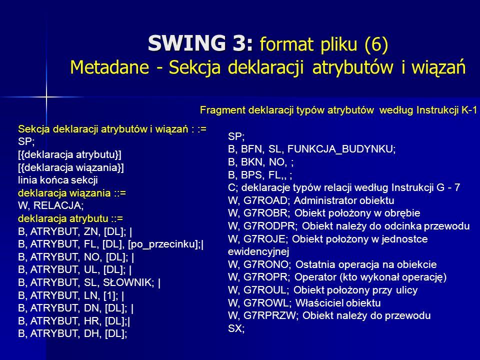 SWING 3: SWING 3: format pliku (6) Metadane - Sekcja deklaracji atrybutów i wiązań SP; B, BFN, SL, FUNKCJA_BUDYNKU; B, BKN, NO, ; B, BPS, FL,, ; C; deklaracje typów relacji według Instrukcji G - 7 W, G7ROAD; Administrator obiektu W, G7ROBR; Obiekt położony w obrębie W, G7RODPR; Obiekt należy do odcinka przewodu W, G7ROJE; Obiekt położony w jednostce ewidencyjnej W, G7RONO; Ostatnia operacja na obiekcie W, G7ROPR; Operator (kto wykonał operację) W, G7ROUL; Obiekt położony przy ulicy W, G7ROWL; Właściciel obiektu W, G7RPRZW; Obiekt należy do przewodu SX; Fragment deklaracji typów atrybutów według Instrukcji K-1 Sekcja deklaracji atrybutów i wiązań : := SP; [{deklaracja atrybutu}] [{deklaracja wiązania}] linia końca sekcji deklaracja wiązania ::= W, RELACJA; deklaracja atrybutu ::= B, ATRYBUT, ZN, [DL]; | B, ATRYBUT, FL, [DL], [po_przecinku];| B, ATRYBUT, NO, [DL]; | B, ATRYBUT, UL, [DL]; | B, ATRYBUT, SL, SŁOWNIK; | B, ATRYBUT, LN, [1]; | B, ATRYBUT, DN, [DL]; | B, ATRYBUT, HR, [DL];| B, ATRYBUT, DH, [DL];