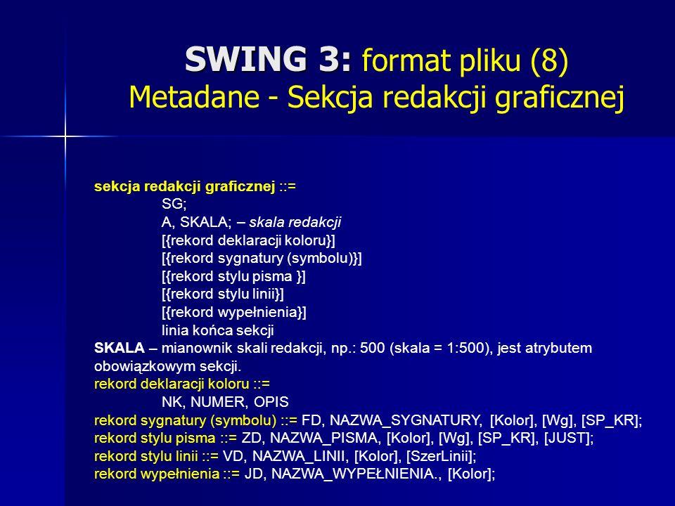 SWING 3: SWING 3: format pliku (8) Metadane - Sekcja redakcji graficznej sekcja redakcji graficznej ::= SG; A, SKALA; – skala redakcji [{rekord deklaracji koloru}] [{rekord sygnatury (symbolu)}] [{rekord stylu pisma }] [{rekord stylu linii}] [{rekord wypełnienia}] linia końca sekcji SKALA – mianownik skali redakcji, np.: 500 (skala = 1:500), jest atrybutem obowiązkowym sekcji.