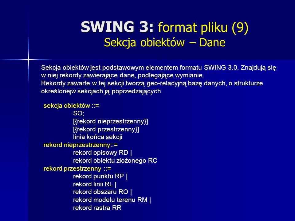 SWING 3: SWING 3: format pliku (9) Sekcja obiektów – Dane Sekcja obiektów jest podstawowym elementem formatu SWING 3.0.
