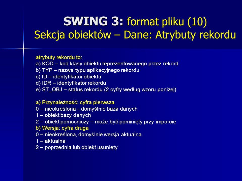SWING 3: SWING 3: format pliku (10) Sekcja obiektów – Dane: Atrybuty rekordu atrybuty rekordu to: a) KOD – kod klasy obiektu reprezentowanego przez rekord b) TYP – nazwa typu aplikacyjnego rekordu c) ID – identyfikator obiektu d) IDR – identyfikator rekordu e) ST_OBJ – status rekordu (2 cyfry według wzoru poniżej) a) Przynależność: cyfra pierwsza 0 – nieokreślona – domyślnie baza danych 1 – obiekt bazy danych 2 – obiekt pomocniczy – może być pominięty przy imporcie b) Wersja: cyfra druga 0 – nieokreślona, domyślnie wersja aktualna 1 – aktualna 2 – poprzednia lub obiekt usunięty