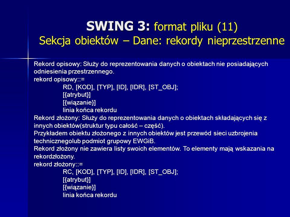 SWING 3: SWING 3: format pliku (11) Sekcja obiektów – Dane: rekordy nieprzestrzenne Rekord opisowy: Służy do reprezentowania danych o obiektach nie posiadających odniesienia przestrzennego.