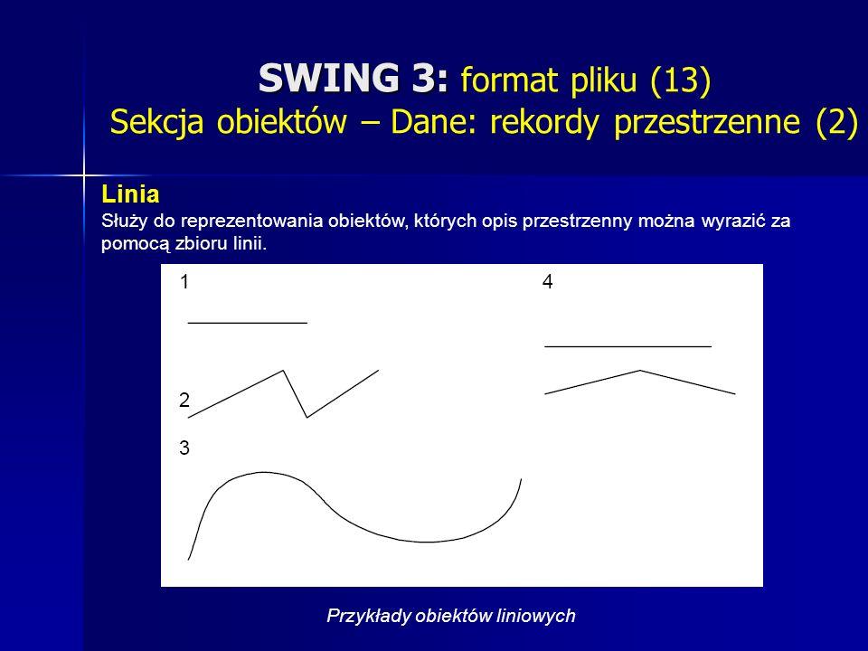 SWING 3: SWING 3: format pliku (13) Sekcja obiektów – Dane: rekordy przestrzenne (2) Linia Służy do reprezentowania obiektów, których opis przestrzenny można wyrazić za pomocą zbioru linii.