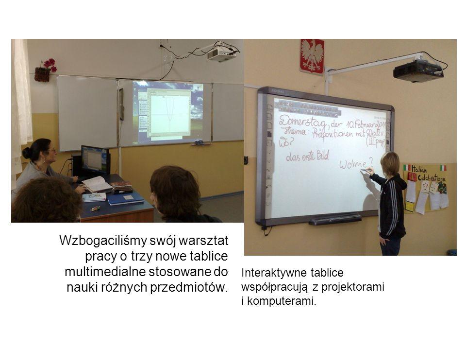 Wzbogaciliśmy swój warsztat pracy o trzy nowe tablice multimedialne stosowane do nauki różnych przedmiotów.