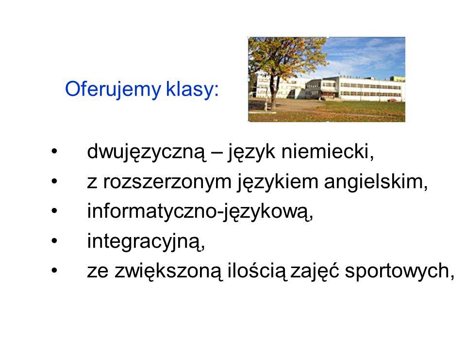 Oferujemy klasy: dwujęzyczną – język niemiecki, z rozszerzonym językiem angielskim, informatyczno-językową, integracyjną, ze zwiększoną ilością zajęć sportowych,