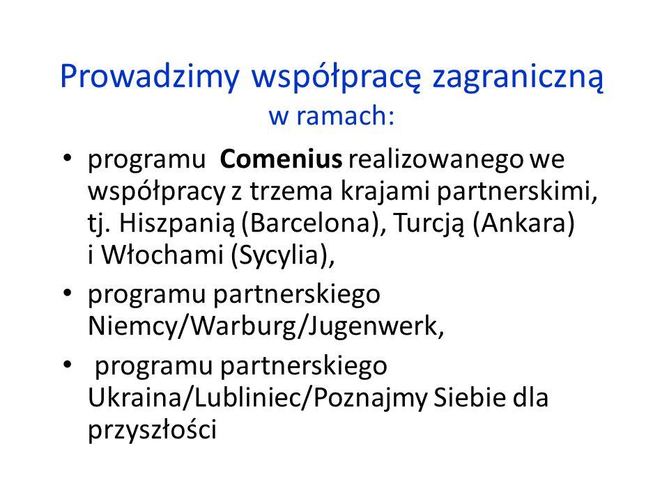 Prowadzimy współpracę zagraniczną w ramach: programu Comenius realizowanego we współpracy z trzema krajami partnerskimi, tj.