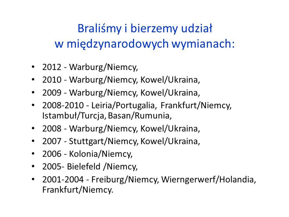 Braliśmy i bierzemy udział w międzynarodowych wymianach: 2012 - Warburg/Niemcy, 2010 - Warburg/Niemcy, Kowel/Ukraina, 2009 - Warburg/Niemcy, Kowel/Ukraina, 2008-2010 - Leiria/Portugalia, Frankfurt/Niemcy, Istambuł/Turcja, Basan/Rumunia, 2008 - Warburg/Niemcy, Kowel/Ukraina, 2007 - Stuttgart/Niemcy, Kowel/Ukraina, 2006 - Kolonia/Niemcy, 2005- Bielefeld /Niemcy, 2001-2004 - Freiburg/Niemcy, Wierngerwerf/Holandia, Frankfurt/Niemcy.