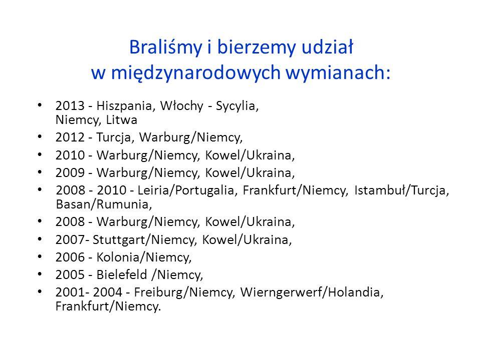 Braliśmy i bierzemy udział w międzynarodowych wymianach: 2013 - Hiszpania, Włochy - Sycylia, Niemcy, Litwa 2012 - Turcja, Warburg/Niemcy, 2010 - Warburg/Niemcy, Kowel/Ukraina, 2009 - Warburg/Niemcy, Kowel/Ukraina, 2008 - 2010 - Leiria/Portugalia, Frankfurt/Niemcy, Istambuł/Turcja, Basan/Rumunia, 2008 - Warburg/Niemcy, Kowel/Ukraina, 2007- Stuttgart/Niemcy, Kowel/Ukraina, 2006 - Kolonia/Niemcy, 2005 - Bielefeld /Niemcy, 2001- 2004 - Freiburg/Niemcy, Wierngerwerf/Holandia, Frankfurt/Niemcy.