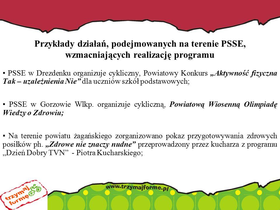 """Przykłady działań, podejmowanych na terenie PSSE, wzmacniających realizację programu ▪ PSSE w Drezdenku organizuje cykliczny, Powiatowy Konkurs """"Aktywność fizyczna Tak – uzależnienia Nie dla uczniów szkół podstawowych; ▪ PSSE w Gorzowie Wlkp."""
