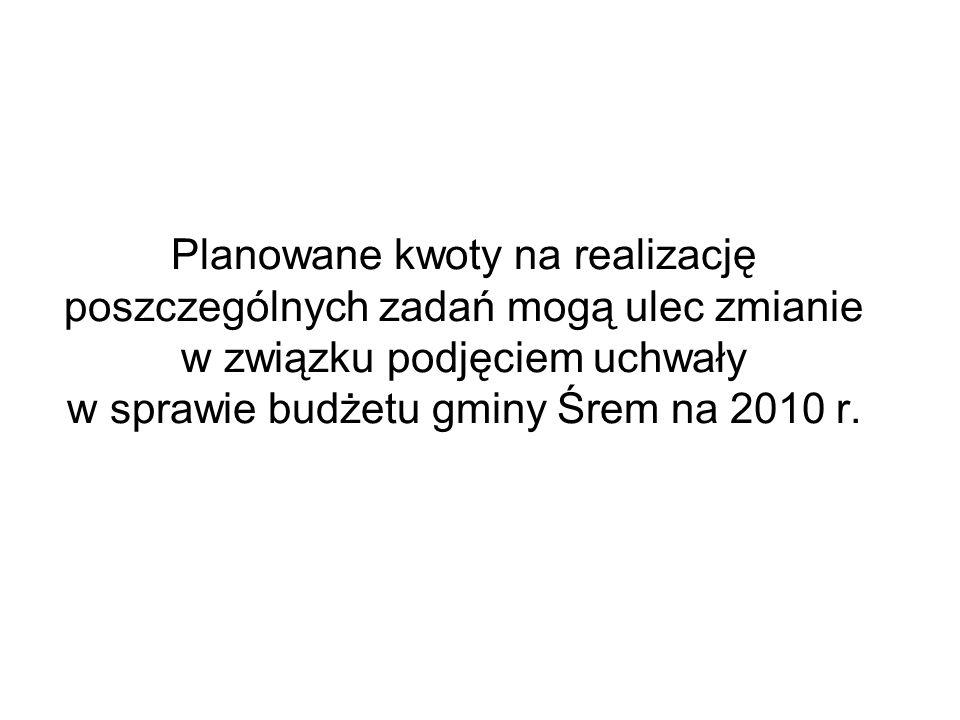 Planowane kwoty na realizację poszczególnych zadań mogą ulec zmianie w związku podjęciem uchwały w sprawie budżetu gminy Śrem na 2010 r.