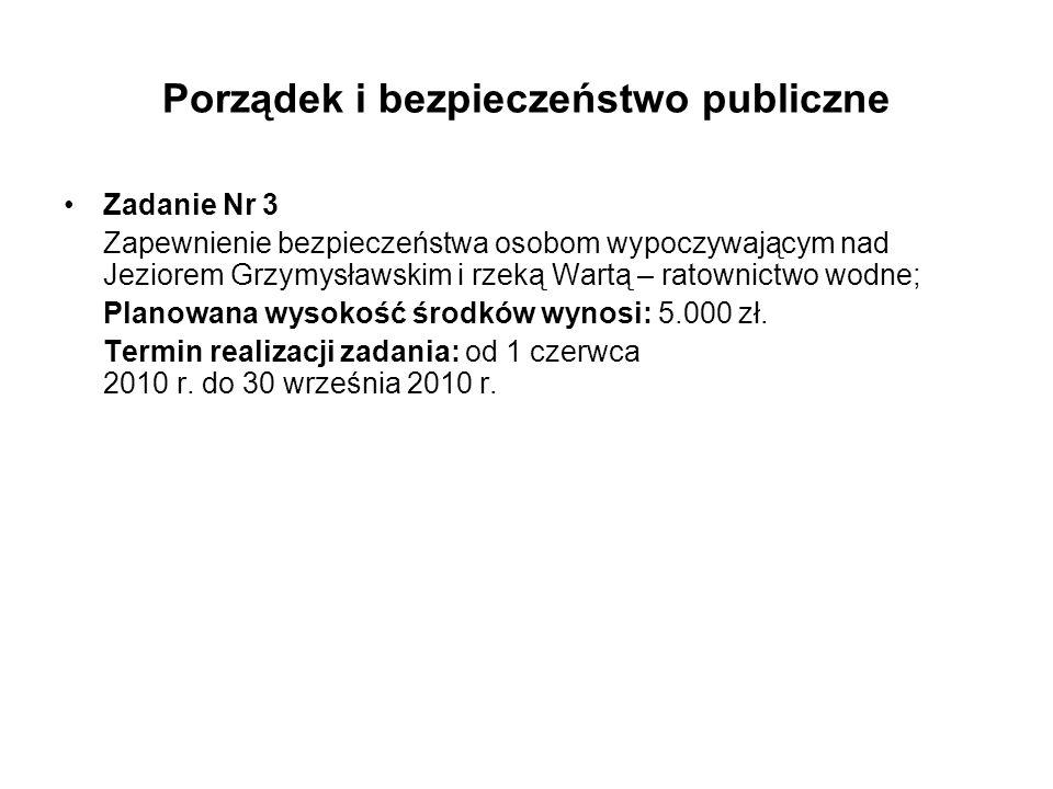 Porządek i bezpieczeństwo publiczne Zadanie Nr 3 Zapewnienie bezpieczeństwa osobom wypoczywającym nad Jeziorem Grzymysławskim i rzeką Wartą – ratownic