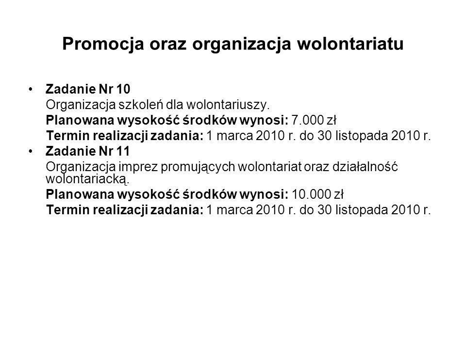 Promocja oraz organizacja wolontariatu Zadanie Nr 10 Organizacja szkoleń dla wolontariuszy.
