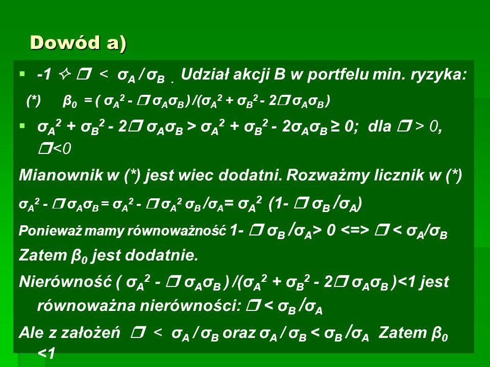 Dowód a)   -1   < σ A / σ B. Udział akcji B w portfelu min.