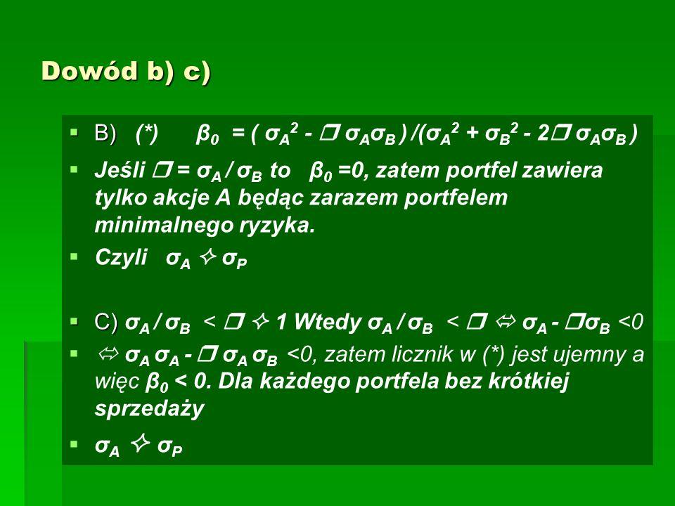 Dowód b) c)  B)  B) (*) β 0 = ( σ A 2 -  σ A σ B ) /(σ A 2 + σ B 2 - 2  σ A σ B )   Jeśli  = σ A / σ B to β 0 =0, zatem portfel zawiera tylko akcje A będąc zarazem portfelem minimalnego ryzyka.