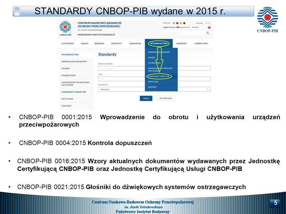 STANDARDY CNBOP-PIB wydane w 2015 r.