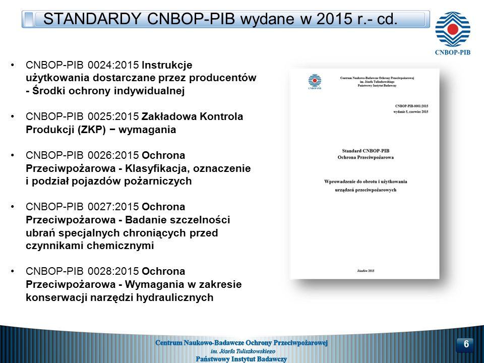 CNBOP-PIB 0024:2015 Instrukcje użytkowania dostarczane przez producentów - Środki ochrony indywidualnej CNBOP-PIB 0025:2015 Zakładowa Kontrola Produkcji (ZKP) − wymagania CNBOP-PIB 0026:2015 Ochrona Przeciwpożarowa - Klasyfikacja, oznaczenie i podział pojazdów pożarniczych CNBOP-PIB 0027:2015 Ochrona Przeciwpożarowa - Badanie szczelności ubrań specjalnych chroniących przed czynnikami chemicznymi CNBOP-PIB 0028:2015 Ochrona Przeciwpożarowa - Wymagania w zakresie konserwacji narzędzi hydraulicznych STANDARDY CNBOP-PIB wydane w 2015 r.- cd.