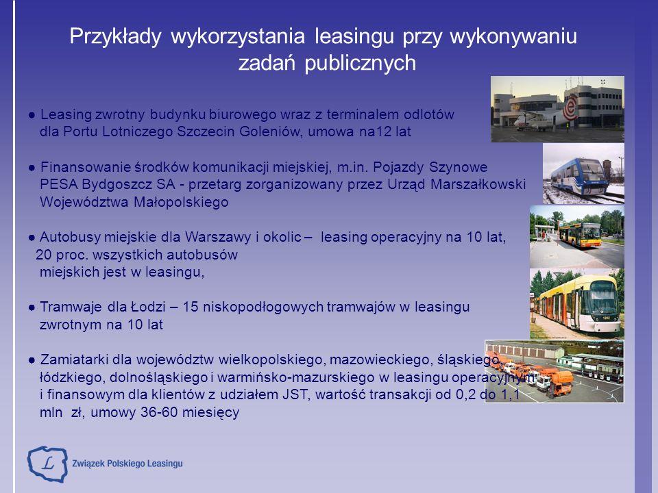 Przykłady wykorzystania leasingu przy wykonywaniu zadań publicznych ● Leasing zwrotny budynku biurowego wraz z terminalem odlotów dla Portu Lotniczego