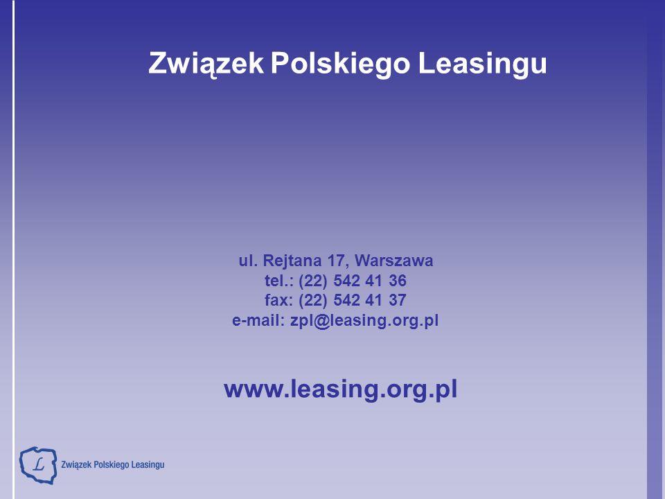 Związek Polskiego Leasingu ul. Rejtana 17, Warszawa tel.: (22) 542 41 36 fax: (22) 542 41 37 e-mail: zpl@leasing.org.pl www.leasing.org.pl