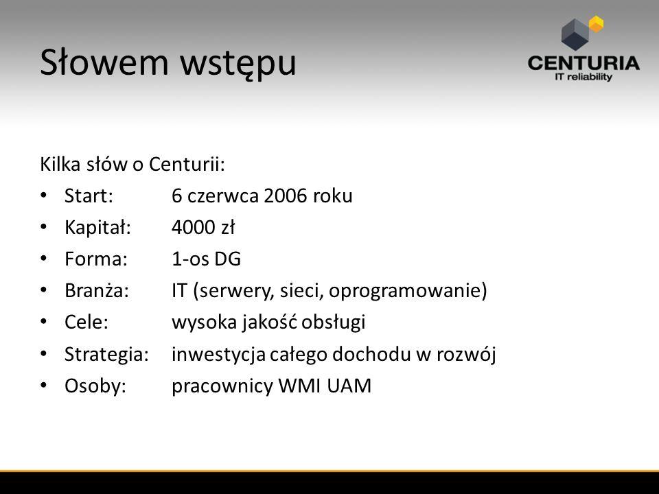 Słowem wstępu Kilka słów o Centurii: Start:6 czerwca 2006 roku Kapitał:4000 zł Forma:1-os DG Branża:IT (serwery, sieci, oprogramowanie) Cele:wysoka jakość obsługi Strategia:inwestycja całego dochodu w rozwój Osoby:pracownicy WMI UAM