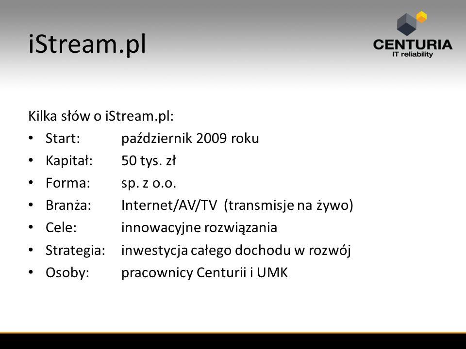 iStream.pl Kilka słów o iStream.pl: Start:październik 2009 roku Kapitał:50 tys.
