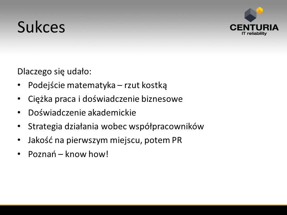 Sukces Dlaczego się udało: Podejście matematyka – rzut kostką Ciężka praca i doświadczenie biznesowe Doświadczenie akademickie Strategia działania wobec współpracowników Jakość na pierwszym miejscu, potem PR Poznań – know how!