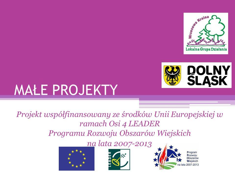 MAŁE PROJEKTY Projekt współfinansowany ze środków Unii Europejskiej w ramach Osi 4 LEADER Programu Rozwoju Obszarów Wiejskich na lata 2007-2013