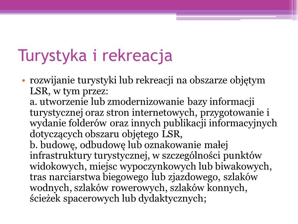 Turystyka i rekreacja rozwijanie turystyki lub rekreacji na obszarze objętym LSR, w tym przez: a.